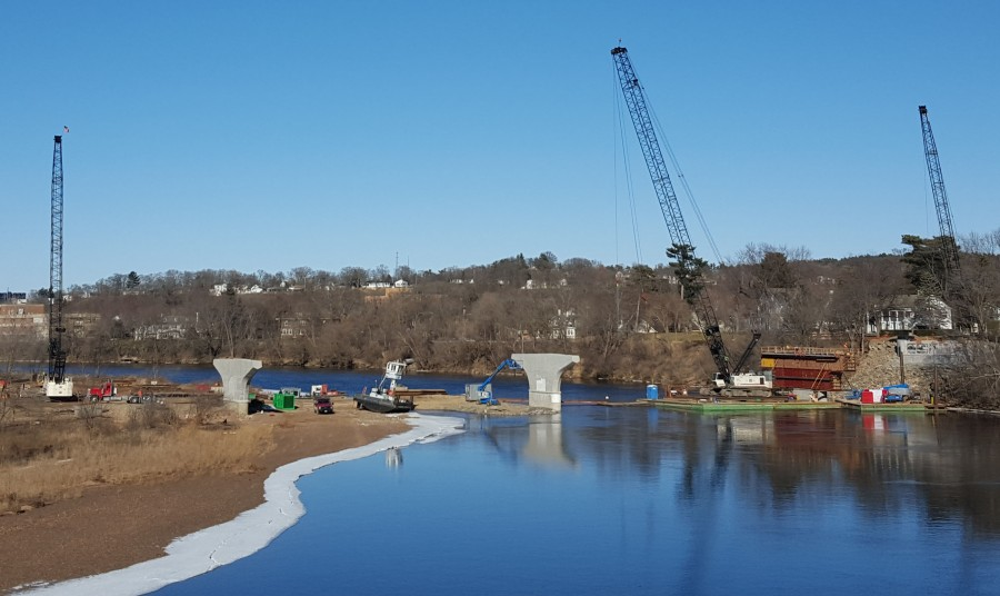 The Water Street bridge's piers are still being created in the construction process before the surface is created. The project will be finished come September.
