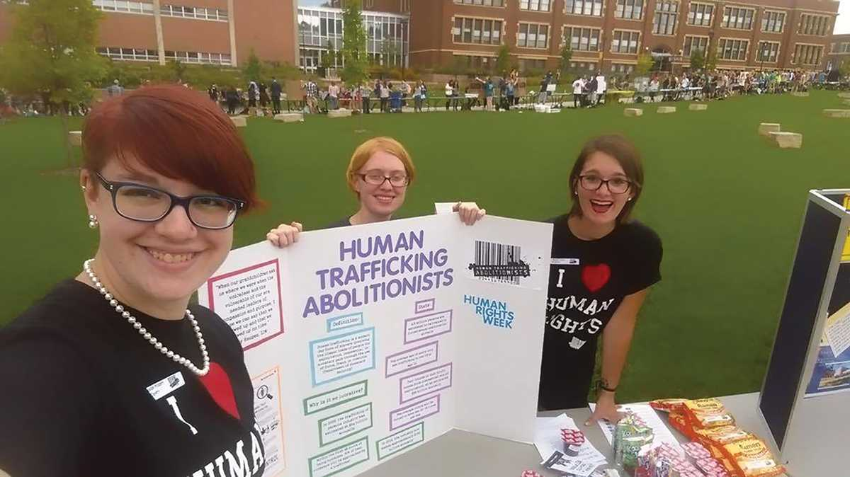 Seniors Brie Sweeney and Nikki Hanto endorse Human Trafficking Abolitionists at BOB. Check out the HTA Facebook page if you are interested in joining, or just want more information.