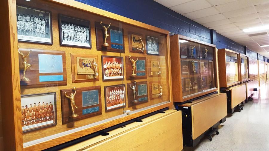 Athletic awards displayed in Zorn Arena show victorious work achieved by hard-working