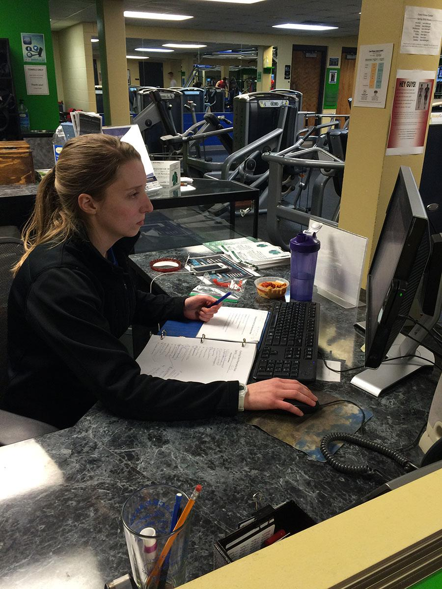 unior nursing student, Jess Steen, works to support herself at Crest Wellness Center.
