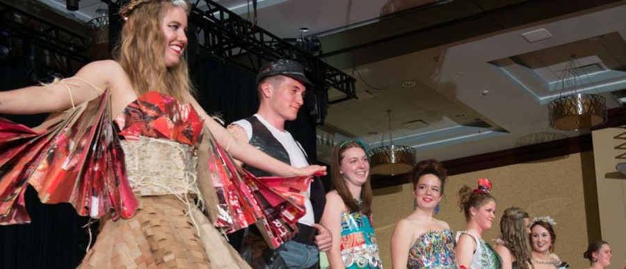 Participants from last year's Just Bag It Fashion Show model runway-ready outfits made entirely from recycled, repurposed materials.