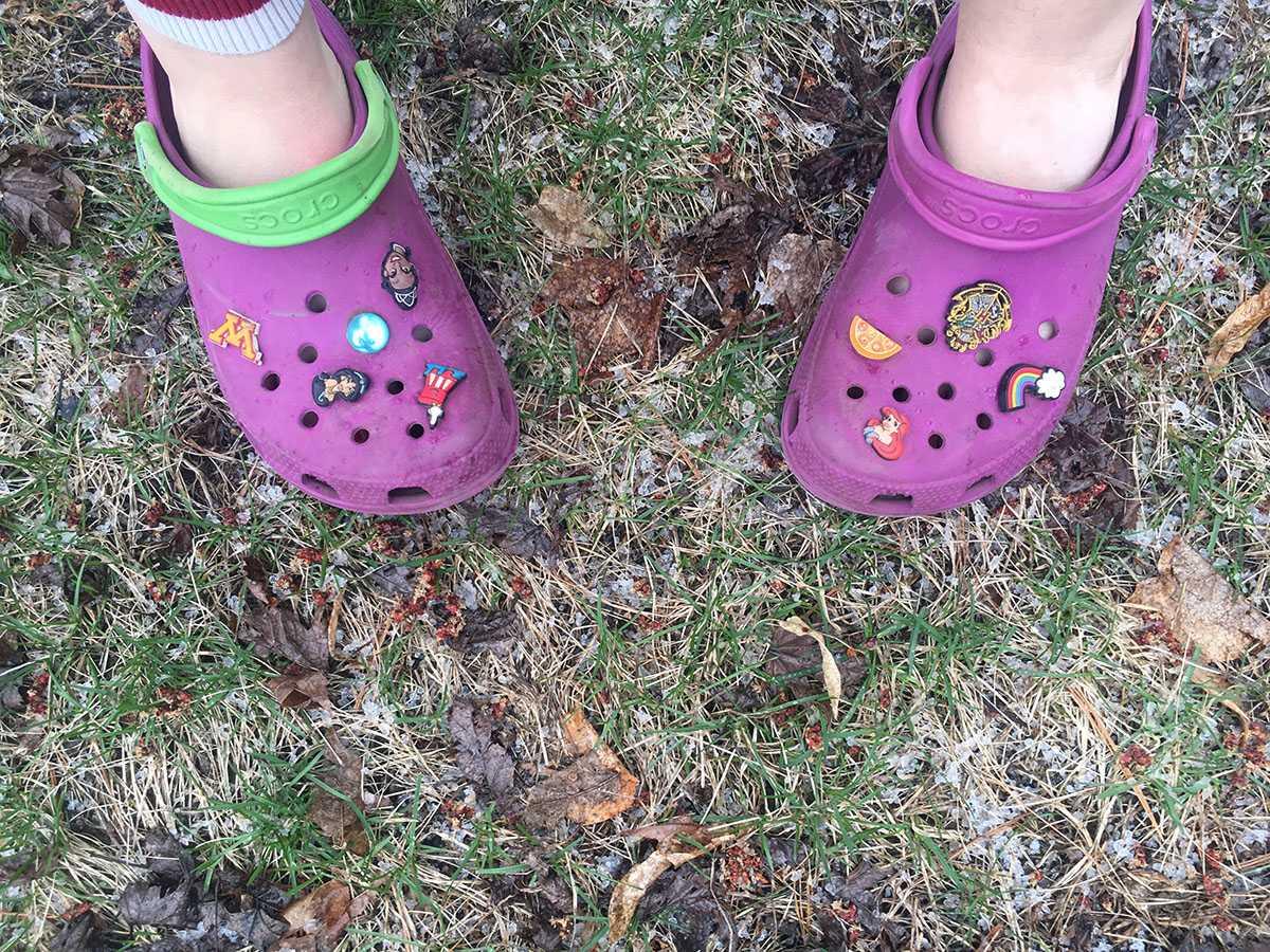 Montgomery wears her crocs in inclement weather, showing off her Jibbitz