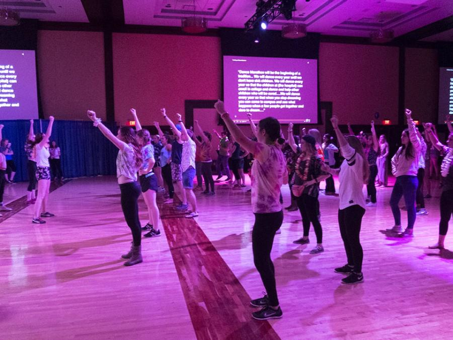 Participants in the dance marathon performing their hourly, coordinated dance number.