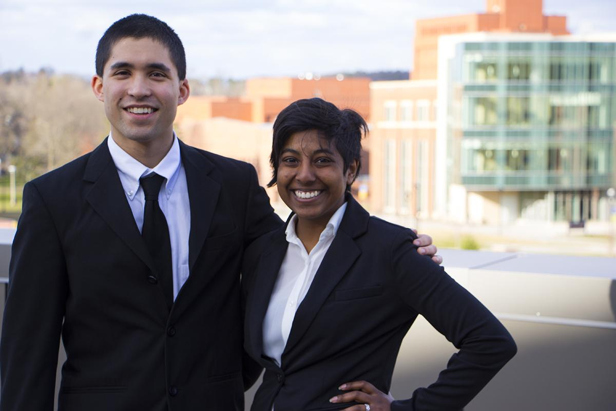 Coordinator of Outreach and Inclusivity Ashley Sukhu and Director of Campus Affairs Colton Ashley will serve as student body president and vice president 2016-17.