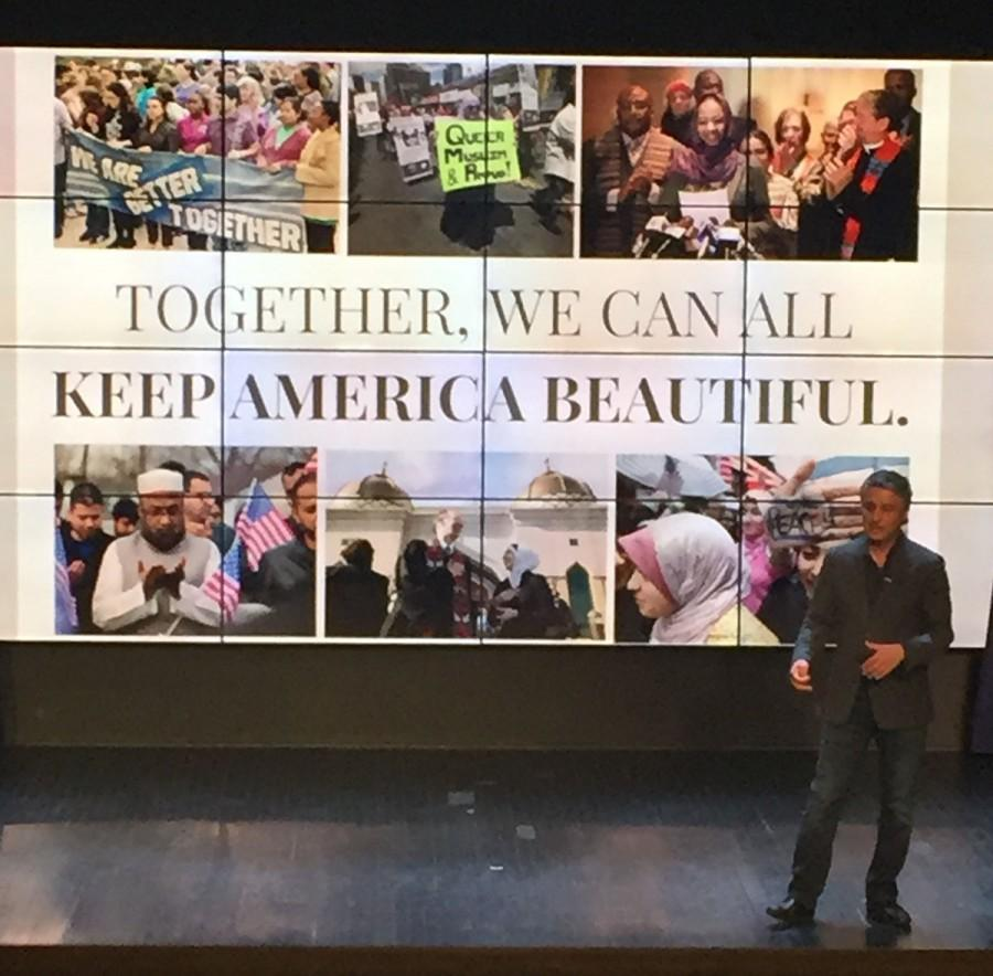Together%2C+we+can+all+keep+America+beautiful%3A+Dr.+Reza+Aslan+gives+lecture+on+Islamophobia+in+the+Schofield+Auditorium+Wednesday+night.
