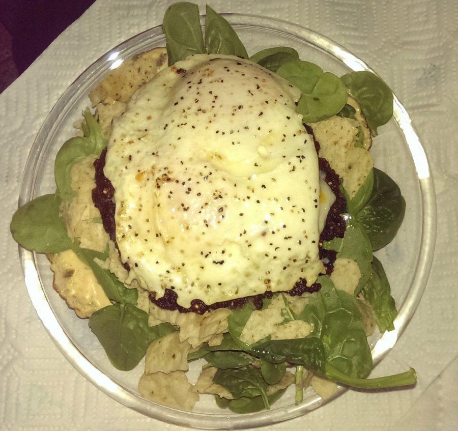 Thomas+Hensen+also+likes+to+eat+his+black+bean+burgers+as+a+salad+when+he+doesn%E2%80%99t+have+any+bread.+Here+he+added+spinach+and+some+tortilla+chips%2C+with+two+over+easy+eggs+on+top.%0A