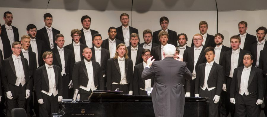 Gary Schwartzhoff conducts the UW-Eau Claire Singing Statesmen choir at their 50th anniversary concert in Gantner Concert Hall Friday May 6.
