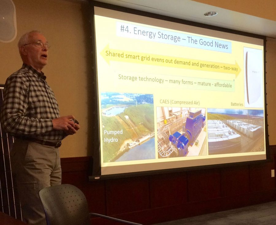 Steven Terwilliger shared how solar power is stored in his presentation May 4 in Oak Room of the Davies Center.