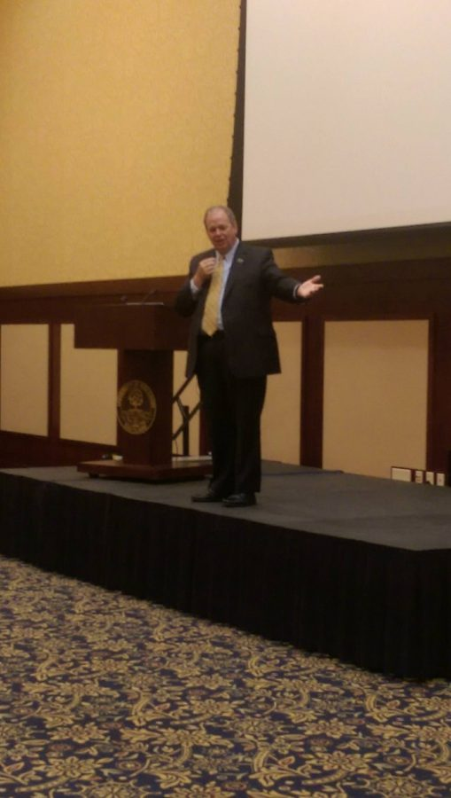 Chancellor James C. Schmidt tells a story about his family and his decision to come to Eau Claire.