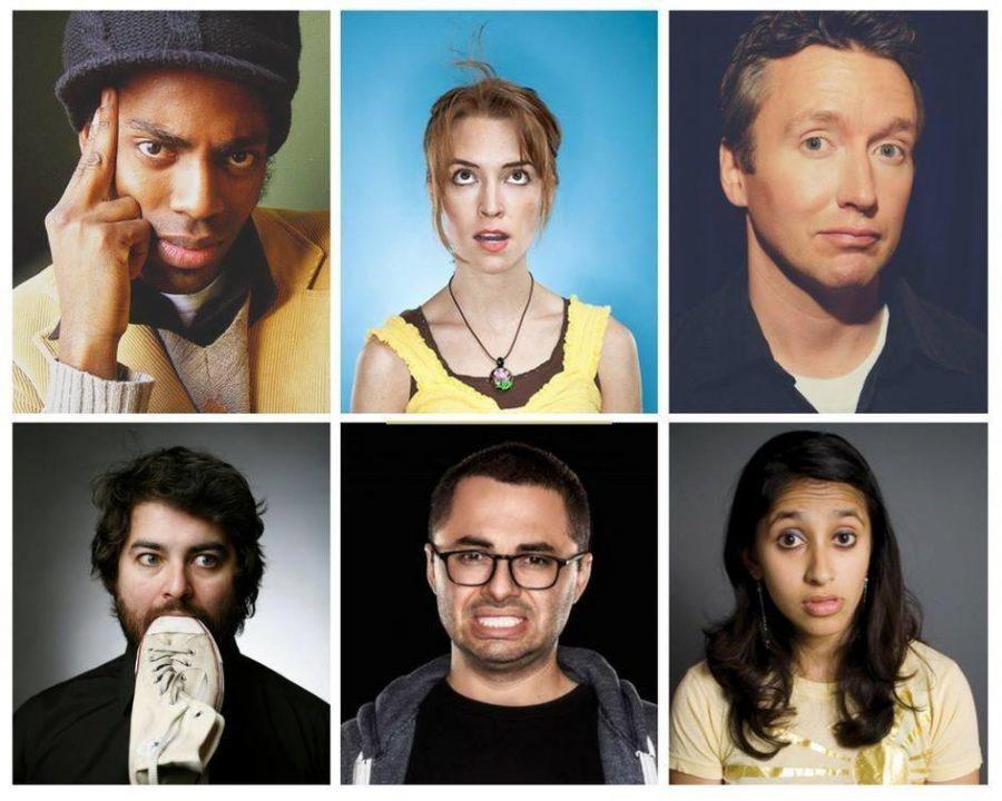 Headshot preview of assorted performers this fall. Top row: Baron Vaughn, Mary Mack, Chad Daniels. Bottom row: Sean Patton, Joe Mande, Aparna Nancherla.