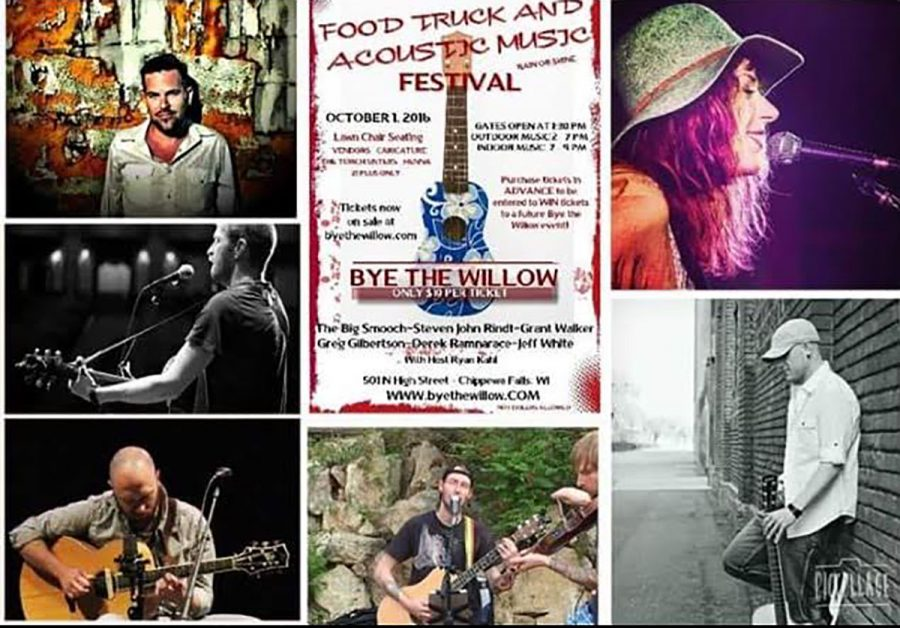 A promotional poster for the First Annual Food Truck and Acoustic Music Festival includes a collage of various performers set to play the event, including country-western singer Jeff White.