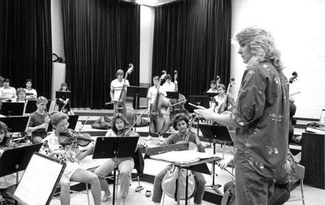 Students play their instruments in band practice, circa 1980s.