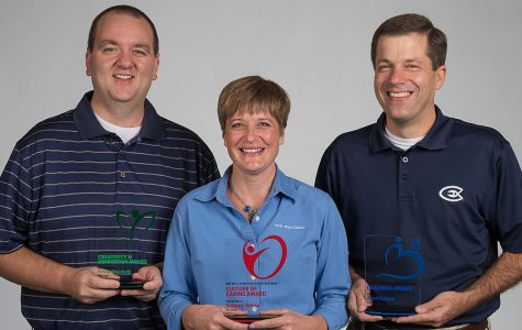 Kevin Meinholz (left), Tiffany Weiss (middle) and Dr. Scott Lester (right) were recognized for their contributions to the College of Business.