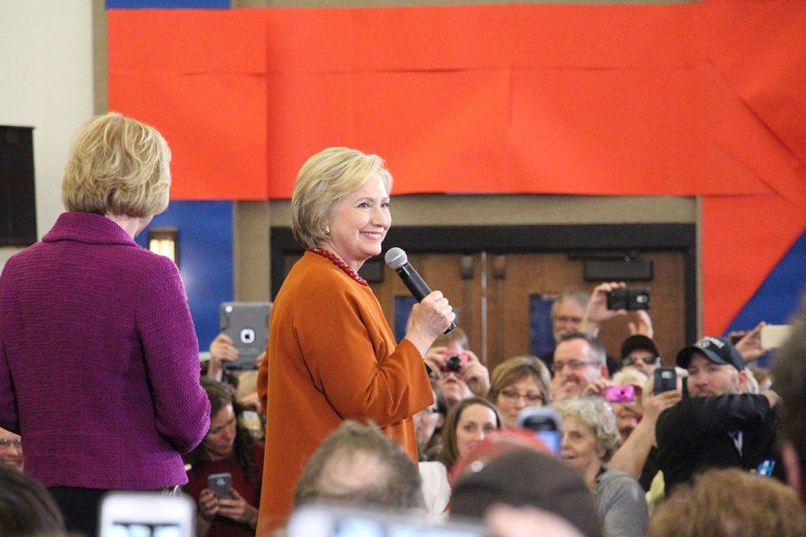 Clinton at a Spring 2016 UW-Eau Claire rally.
