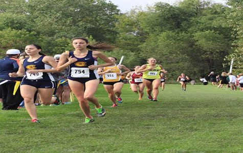 Runners Mel Becker and Callie Fischer were the first two Blugolds to cross the finish line Saturday at the St. Olaf Invitational.