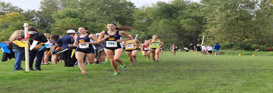 +Runners+Mel+Becker+and+Callie+Fischer+were+the+first+two+Blugolds+to+cross+the+finish+line+Saturday+at+the+St.+Olaf+Invitational.+