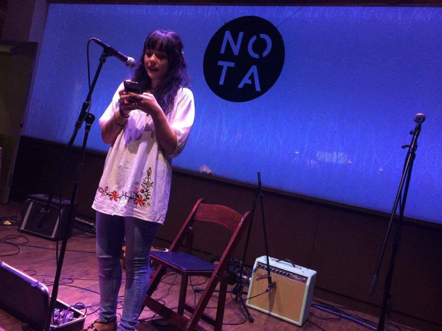 Rayna DeJongh performed at a NOTA-sponsored open read last Thursday at The Cabin.