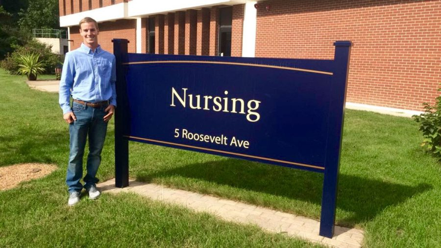 CALL THE NURSE: American Assembly of Men in Nursing Chapter President Jamison Young welcomes the new program to campus. The program offers support to male students interested in nursing.