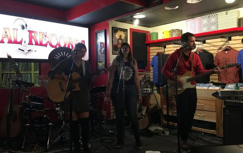 "Local band Laska performed Thursday night at Revival Records prior to the midnight release of Bon Iver's newest album ""22, A Million."""