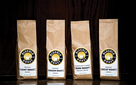 "Blugold Roast sells four coffee blends. Light roast and medium roast sell for $12.99, while decaf and dark roast, or the ""Chancellor's Blend"" sell for $13.99 (Kelsey Smith)."