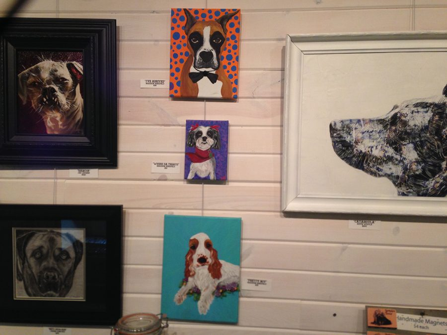 Herzfeld's art is on display in the Dog Art Show at Tangled Up In Hue through the end of October. In her pieces (middle column), she utilized bright colors, which she said is a part of her personal style. All proceeds from her work will be donated to Bob's House For Dogs. (Submitted)