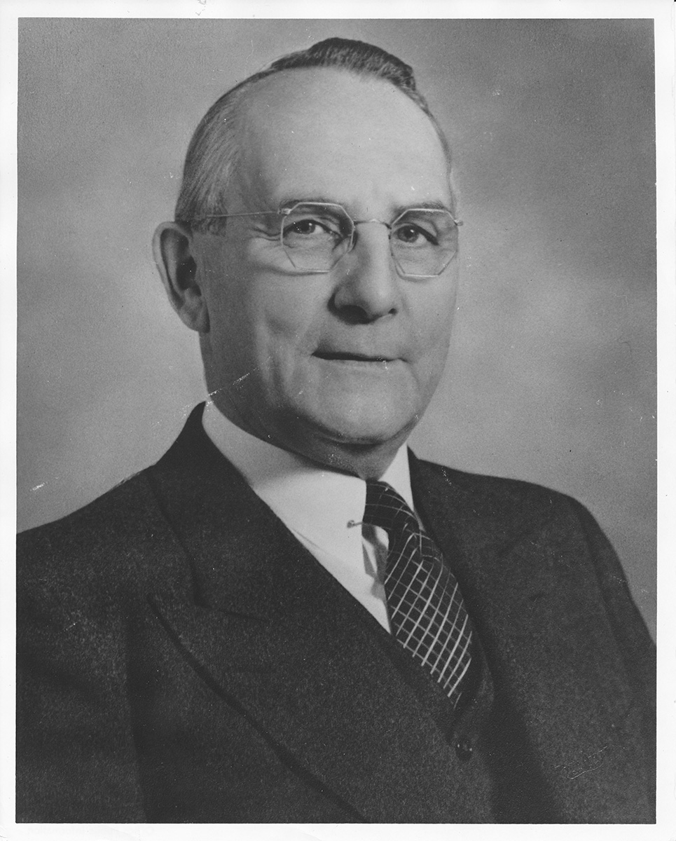 The Chancellor's staff are part of the University Administration. Shown here is UW-Eau Claire's first chancellor, Harvey A. Schofield.