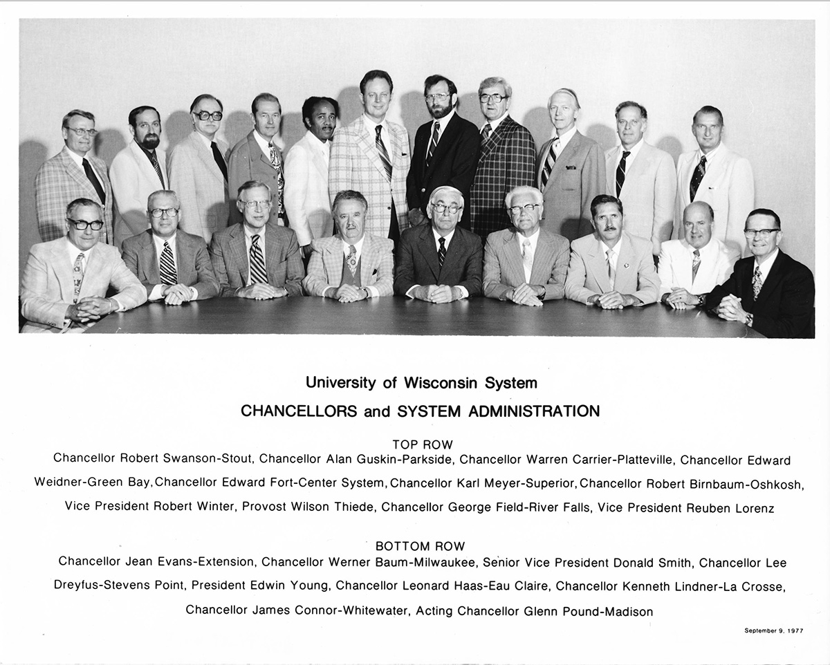 Shown here are the university's 1977 administration.