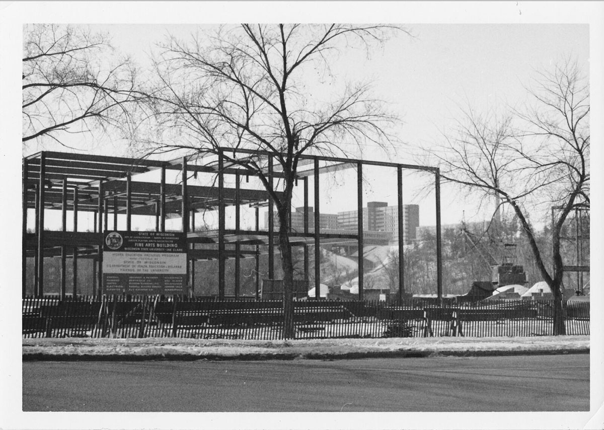 In 1968, Haas Fine Arts Center was under construction; the building did not open until 1970, allowing art and music students to have a space of their own.