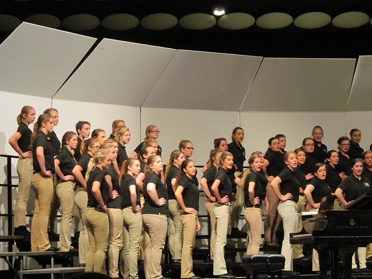 UW-Eau Claire's Women's Concert Chorale shows personality during their concert at the Clearwater Choral Festival over the weekend.
