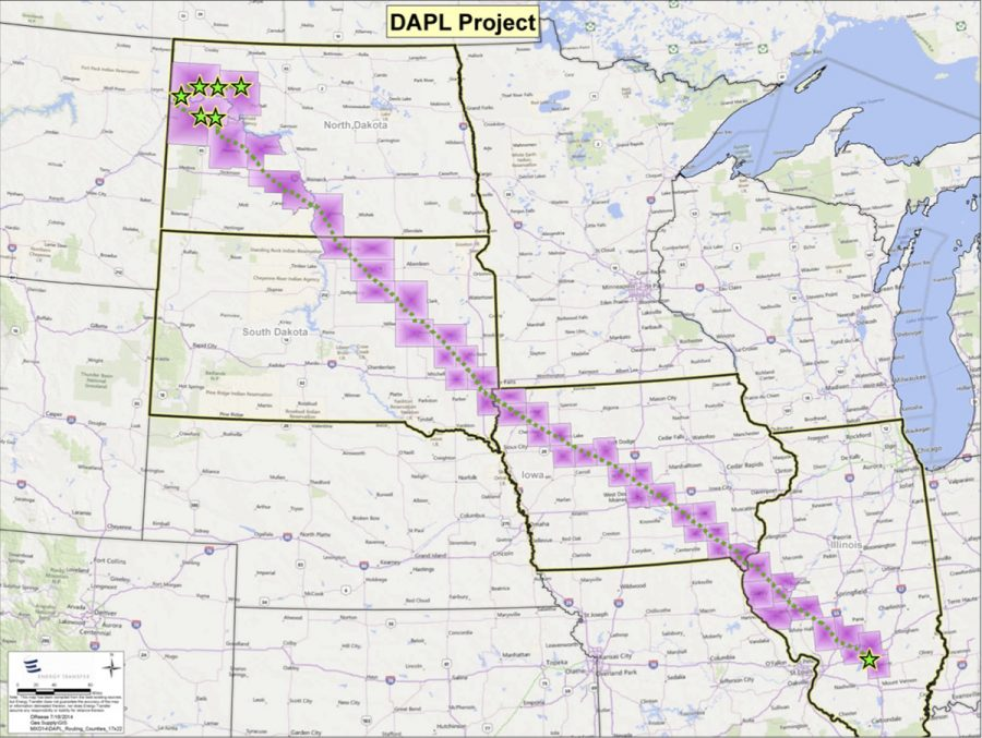 The map above taken from the Dakota Access Pipeline website shows the length of the proposed pipeline stretching from North Dakota down into Illinois.