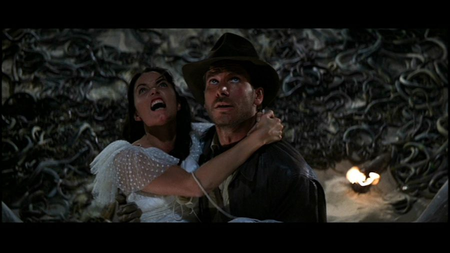 In this still from the film Indiana Jones faces his biggest fear, literally.