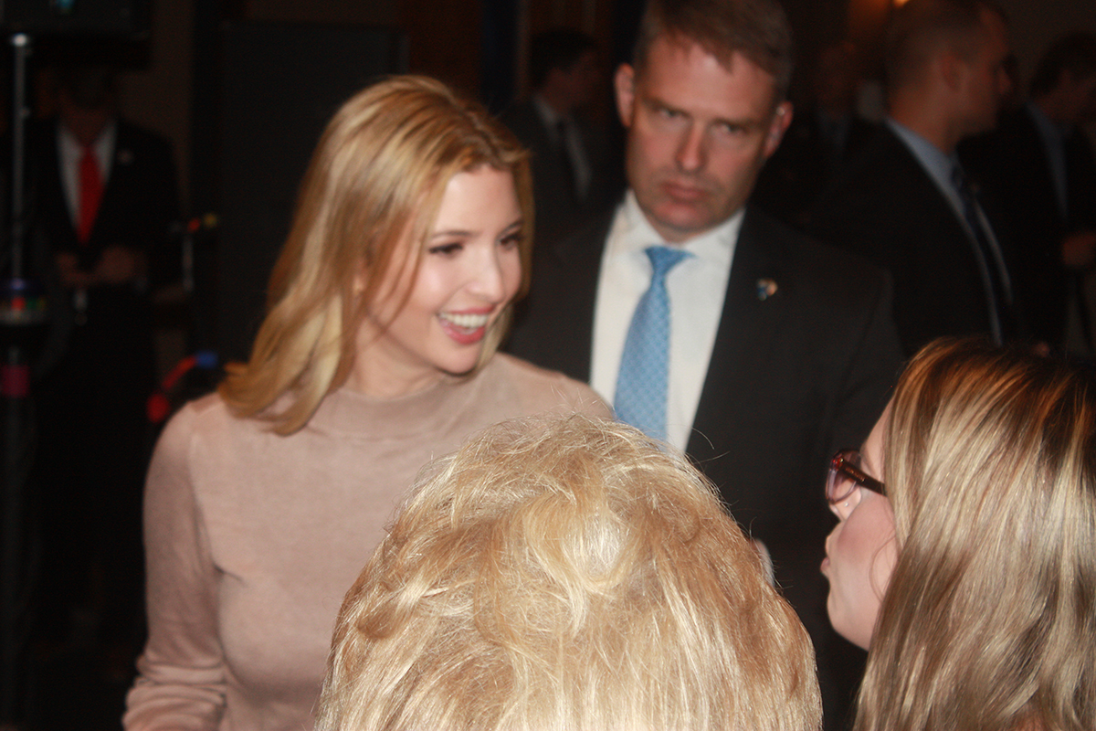 Ivanka Trump interacts with supporters after the conclusion of Thursday's rally. Roughly 300 people visited the Lismore Hotel in downtown Eau Claire to hear Trump speak on behalf of her father, Republican nominee Donald Trump.