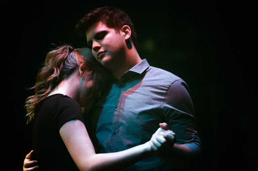 Cathy (Bridget Cushman) and Jamie (Jacob Milton) share only one intimate scene together throughout the musical.
