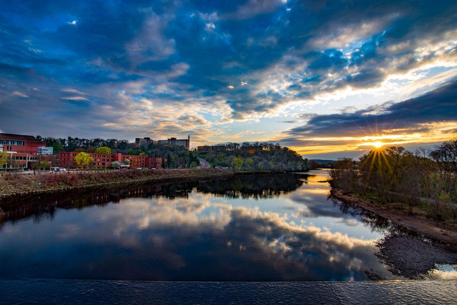 Matt Schrupp captures the university and its scenic position along the Chippewa River from the walking bridge at sunset (Submitted).