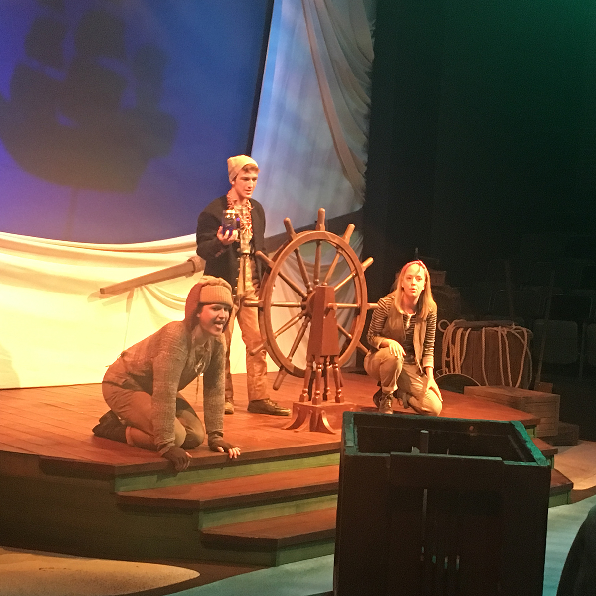 "Joey Sletner, Tristen Wilkes and Emily Elliot perform in the shipwrecked scene of the Music and Theatre Department's newest production ""Shipwrecked!: The Amazing Adventure of Louis de Rougemont As Told By Himself."""