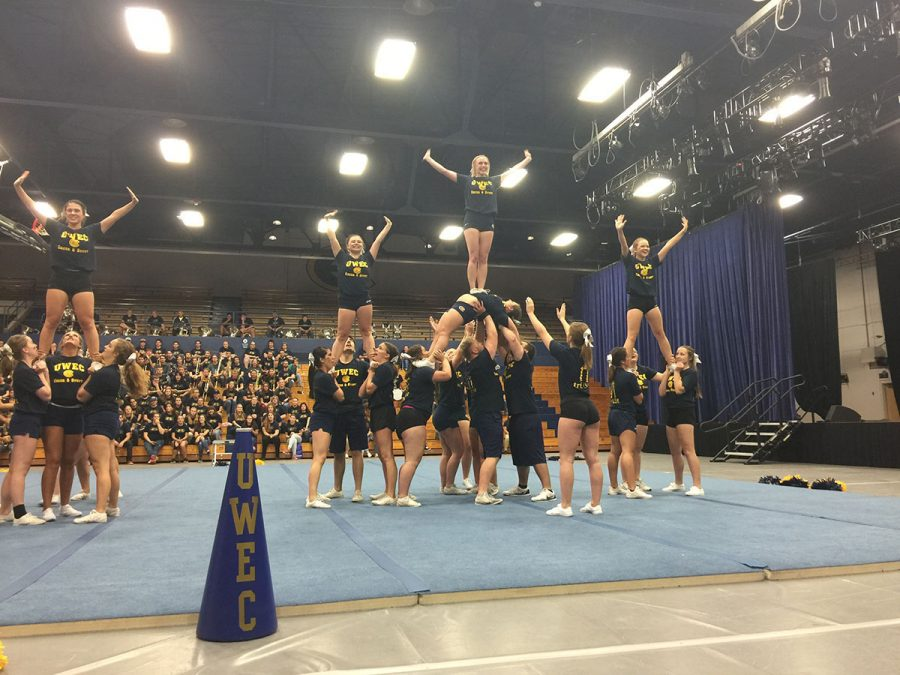 The cheer and stunt team puts in countless hours to practicing and perfecting their elaborate routines and stunts.