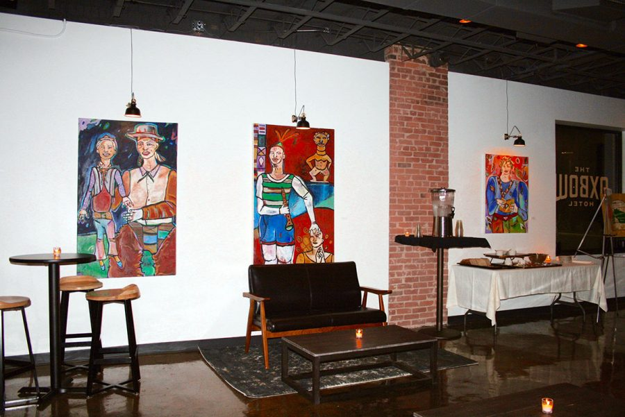 The Oxbow Hotel's first-floor gallery lounge currently holds artwork by artist Hjordis Olson of Colfax. As part of the hotel's grand opening this weekend, patrons could walk through the lounge as part of a reception for contributing artists Saturday night.