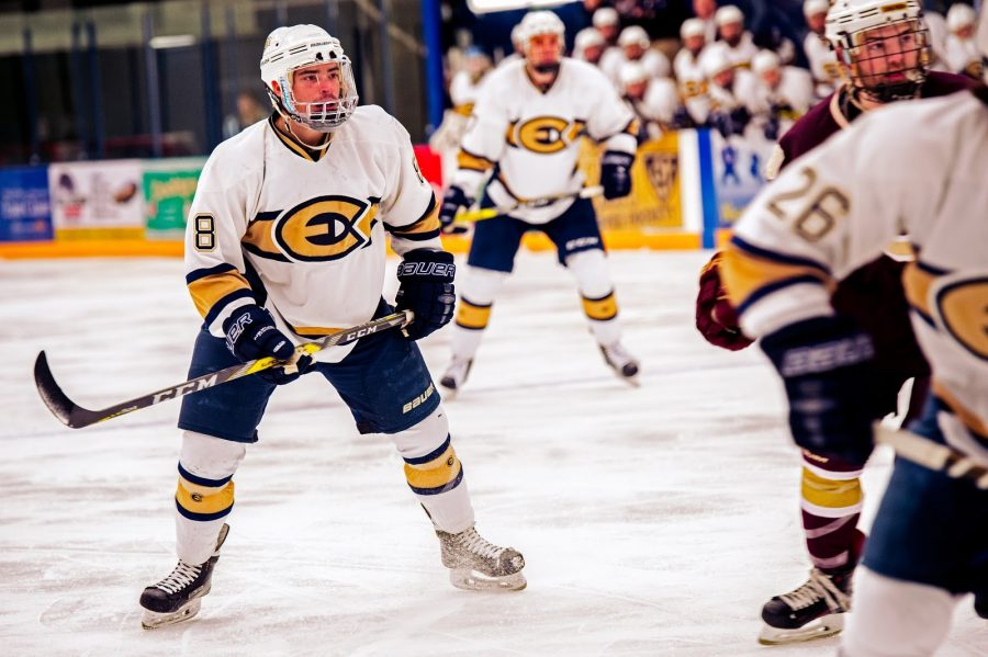 Junior+Blugold+hockey+player%2C+Colton+Wolter%2C+stands+ready+to+assist+his+fellow+teammates+score+a+goal.