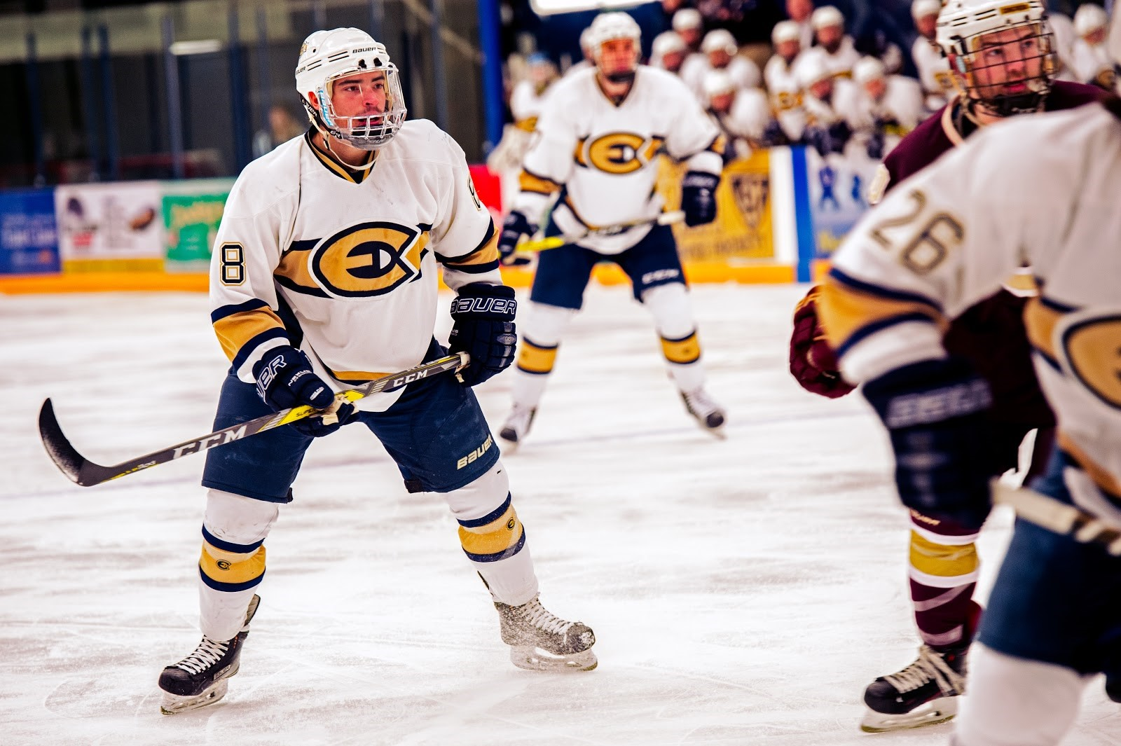 Junior Blugold hockey player, Colton Wolter, stands ready to assist his fellow teammates score a goal.