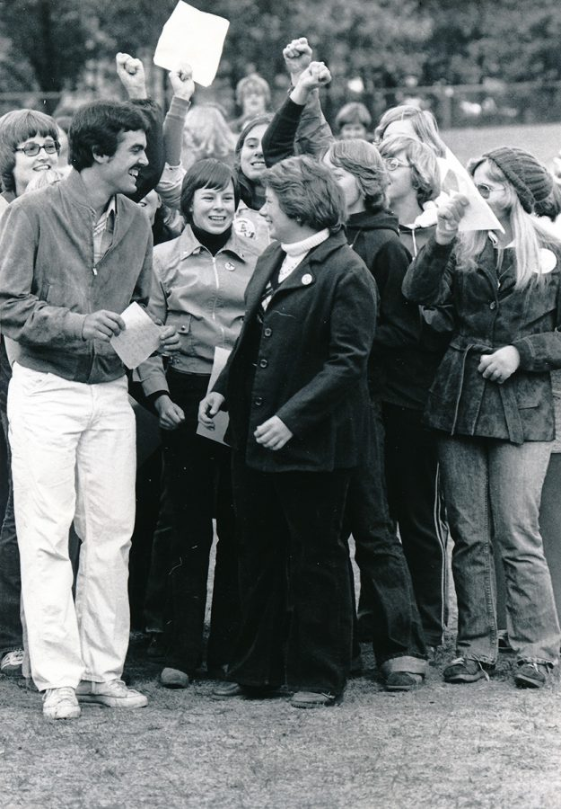 Sociology looks at relationships between people. Shown here are students celebrating during homecoming week in 1976.