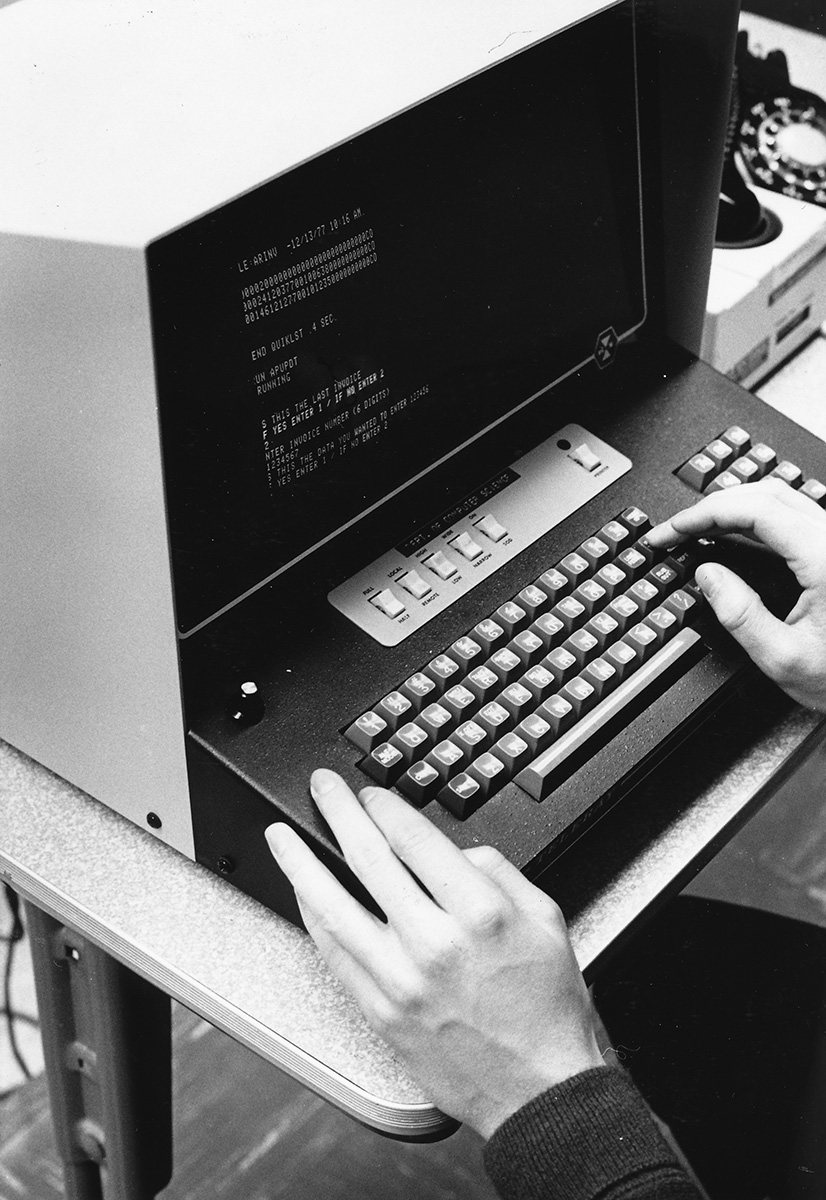 Students in the computer science department gain hands-on training with up-to-date facilities, according to Eau Claire's CS page. Shown is a campus computer from 1977 connecting to the mainframe.