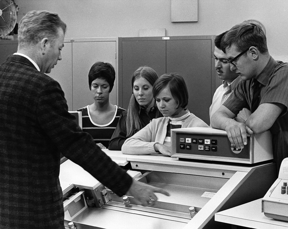 The Burroughs Mainframe Computer was the first centralized computer system on campus.