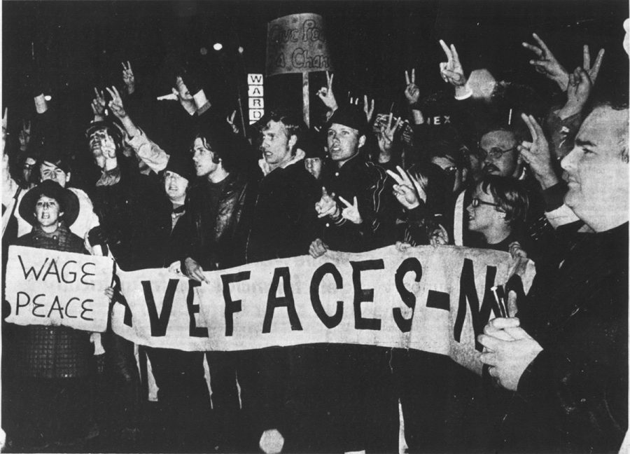 Protesters from 1970 marched in the Moratorium March, urging for peace and the end of the Vietnam War.