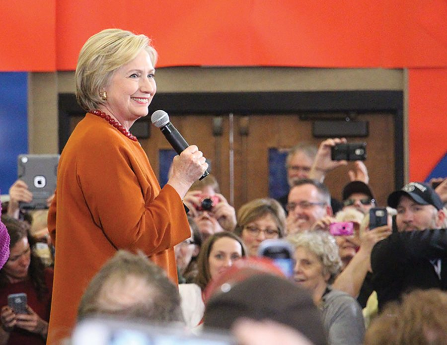 Hillary Clinton campaigning in Eau Claire Spring of 2016. Clinton's proposals for college tuition have changed during her campaign