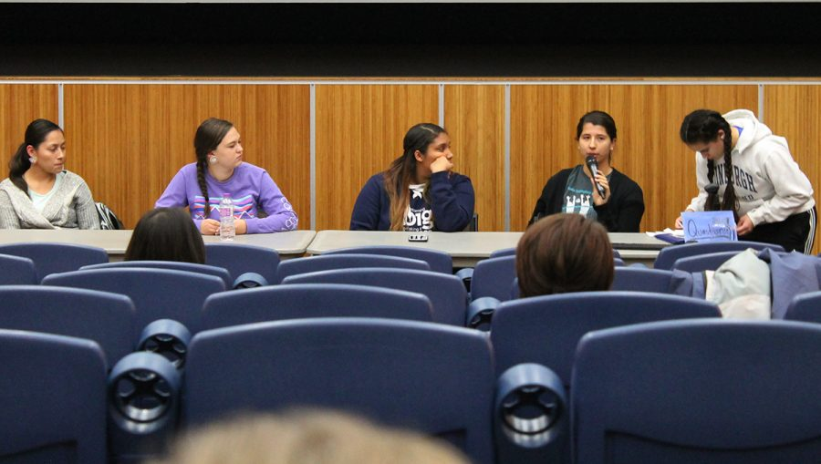 Members of the Inter-Tribal Student Council answered anonymous questions from the audience at the biannual Indian Student Panel Tuesday. (Sydney Purpora)