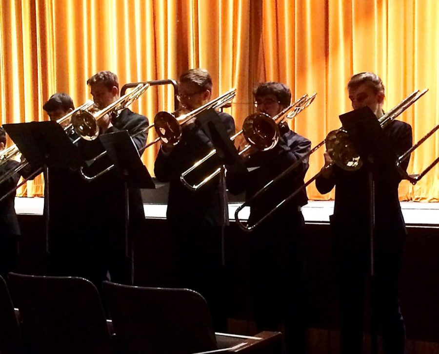"""The trombone choir performed """"O Magnum Mysterium"""" by Morten Lauridsen, which had a warm, ethereal sound. Dr. Phillip Ostrander said he is partial to this piece because the trombone is his instrument."""