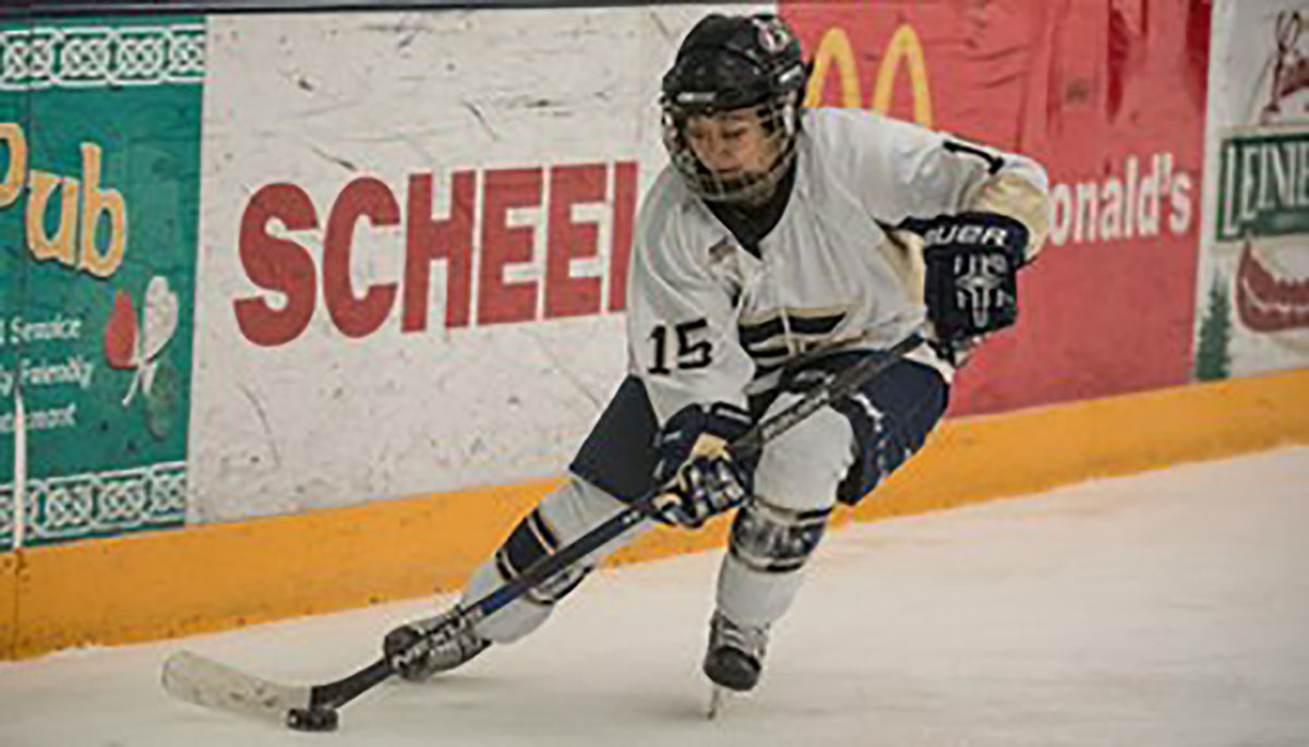 Freshman defensive player Sadie Defatte played for the Blugolds Friday at Hobbs Ice Arena against UW-Superior.