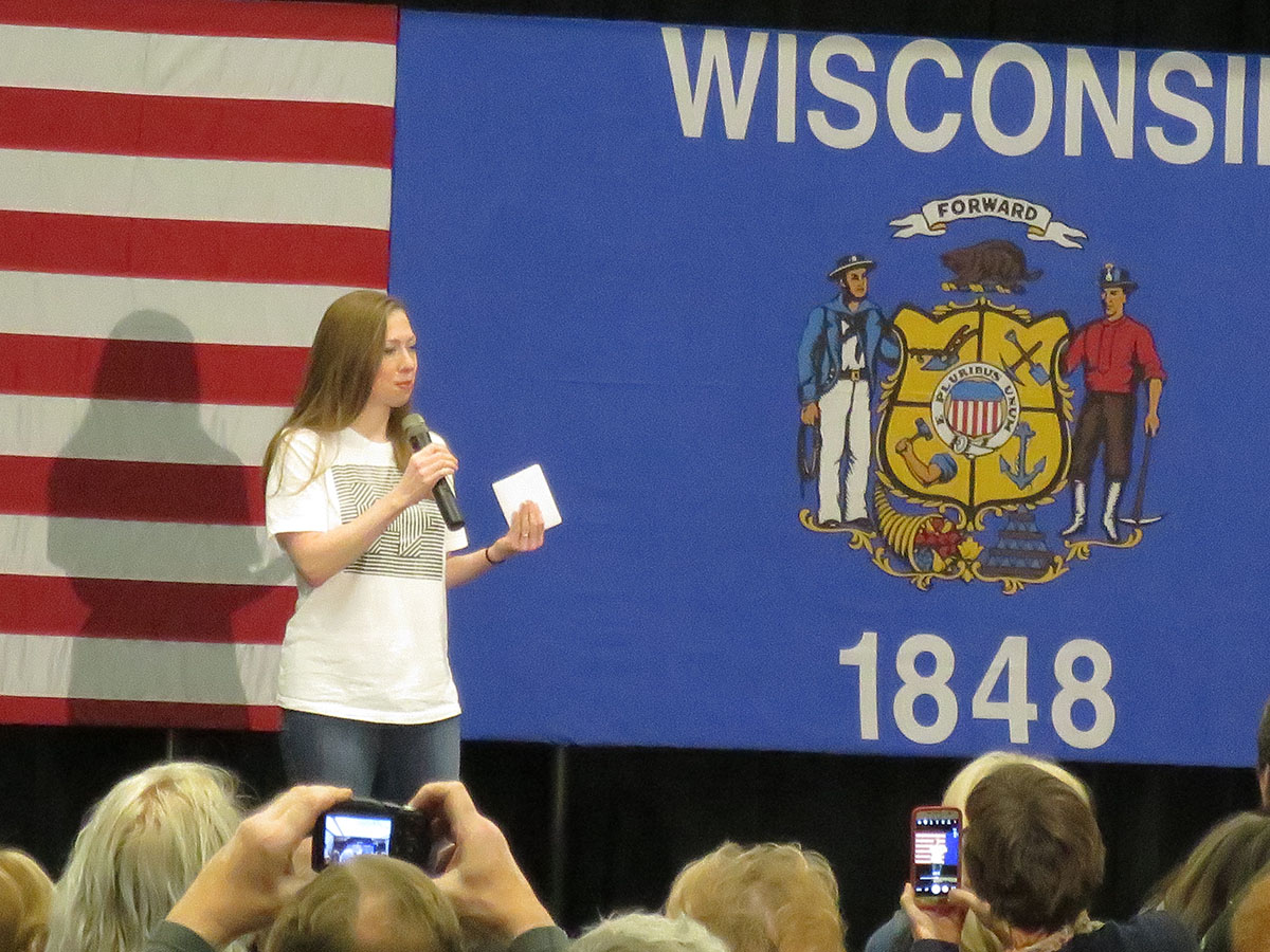 Hillary Clinton's daughter, Chelsea Clinton, shares her experiences with people on the campaign trail. She illustrated the sharp contrast on issues like health care and climate change between her mother and Republican nominee Donald Trump. (Brian Sheridan)
