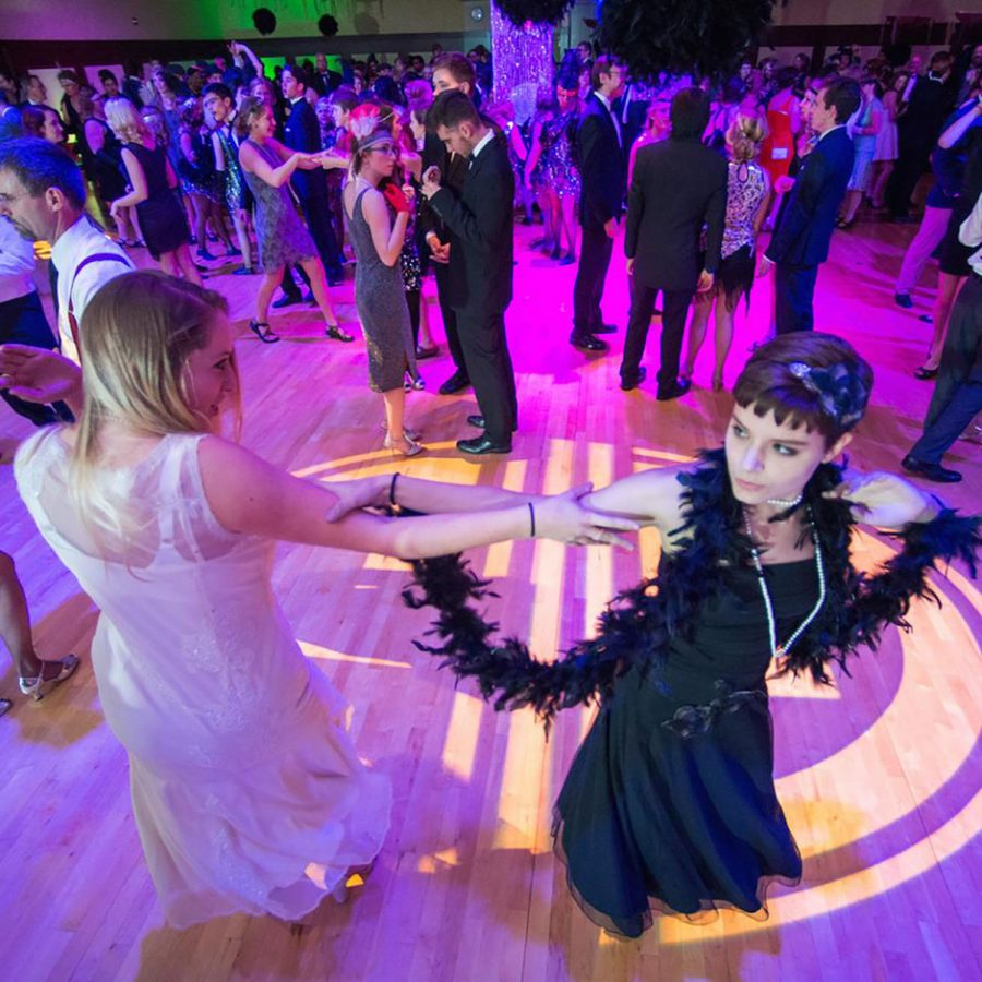 Attendees dressed in costume and danced to jazz-inspired music performed by UW-Eau Claire jazz ensembles.