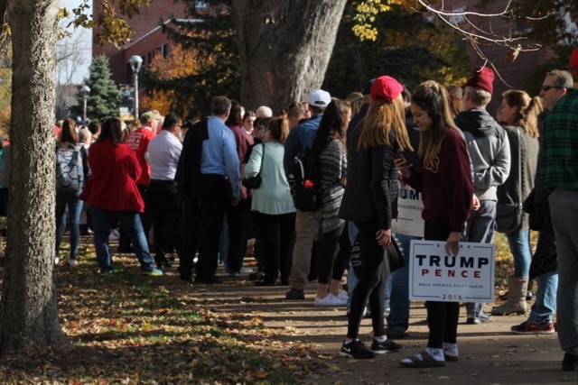 Thousands of Trump supporters turned out Tuesday for the rally held in the W. L. Zorn Arena. Many had been camping out since mid-morning for the opportunity to hear nominee Donald Trump speak before the Nov. 8 election.